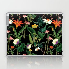 Vintage wild flowers black Laptop & iPad Skin
