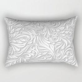 Floral White Rectangular Pillow