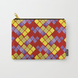 Blue yellow gold mosaic pattern on metallic red Carry-All Pouch