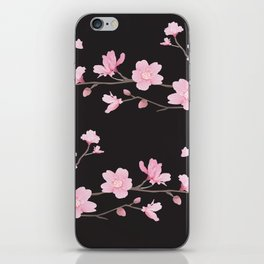 Cherry Blossom - Black iPhone Skin