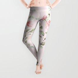 Rose Blush Watercolor Flower Pattern Leggings
