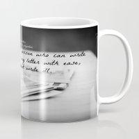 jane austen Mugs featuring Jane Austen Letter by KimberosePhotography