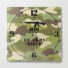 M16 Rifle US Army clock set version #1 Metal Print