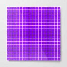 Electric violet - violet color - White Lines Grid Pattern Metal Print