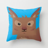 furry Throw Pillows featuring Furry Squirrel by Yay Paul