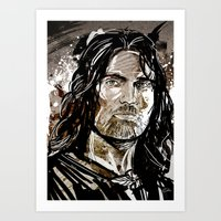 aragorn Art Prints featuring Aragorn by Patrick Scullin