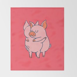 Pig Hugs Throw Blanket