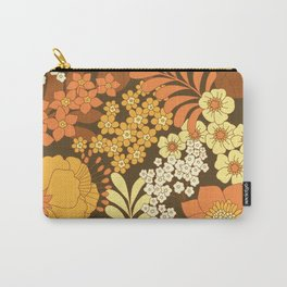 Brown, Yellow, Orange & Ivory Retro Flowers Carry-All Pouch