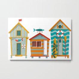 Beach Hut Number Three Metal Print