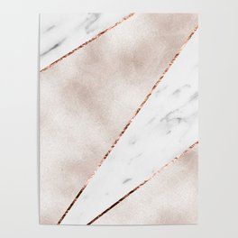 Spliced rose gold marble Poster