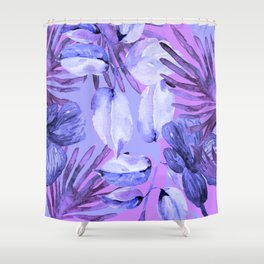 TROPICAL FERNS AND FLOWERS IN SHADES OF mid blue, purples and navy blue Shower Curtain