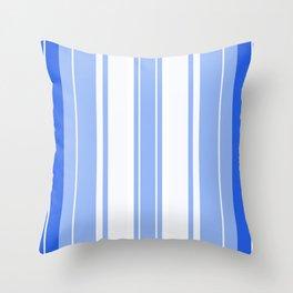 Strips - blue and white. Throw Pillow