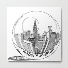 New York in a glass ball Metal Print