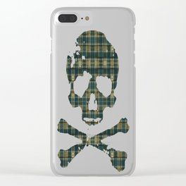 Green/Blue/Orange Plaid/Hounds-tooth Mix Clear iPhone Case