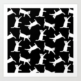 Cats-White on Black Art Print