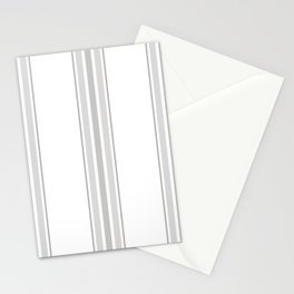 Farmhouse Ticking Stripes in Gray on White Stationery Cards