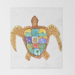 Sunny Sea Turtle Throw Blanket
