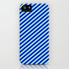 Green and Blue Colored Lines Pattern iPhone Case