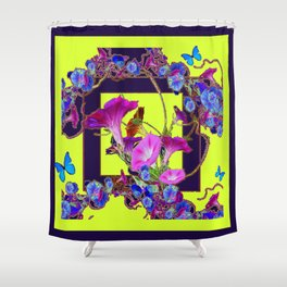 Purple Morning Glories Butterfly Patterns Chartreuse Art Shower Curtain