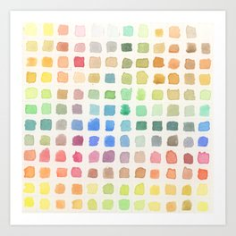 Square Watercolor Swatches Art Print