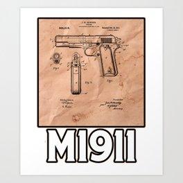 M1911 Patent Drawings Art Print
