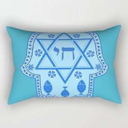 Hamsa for blessings, protection and strength - Turquoise Rectangular Pillow