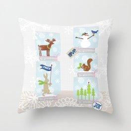 Woodland Snow Globes Throw Pillow