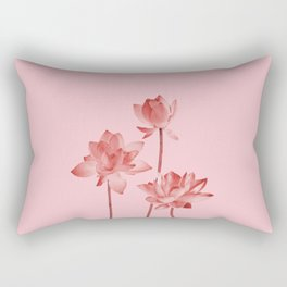 Three Lotos Flowers pink Design Rectangular Pillow