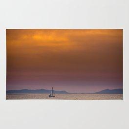 Yacht sailing towards Catalina Island Rug
