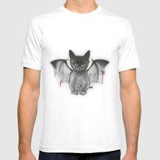 Cat Bat MEDIUM White Mens Fitted Tee
