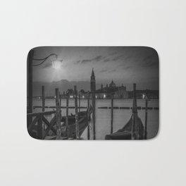 VENICE Gondolas during Sunrise in black and white Bath Mat