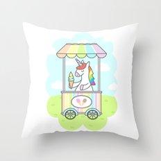 Unicorn Ice Cream Throw Pillow