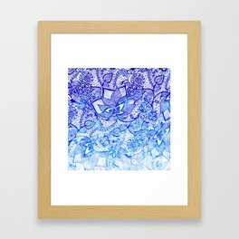 Modern china blue ombre watercolor floral lace hand drawn illustration Framed Art Print