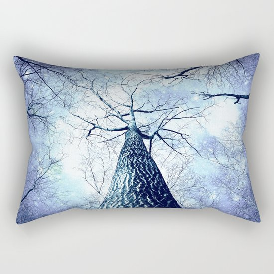 Wintry Trees Periwinkle Ice Blue Space Rectangular Pillow