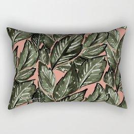 Feathery Leaves - Burnt Orange Olive Rectangular Pillow