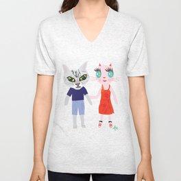 Taro fashionista cats Unisex V-Neck