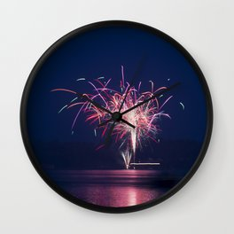 Fireworks Over Lake 19 Wall Clock