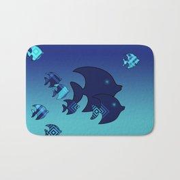 Nine Blue Fish with Patterns Bath Mat