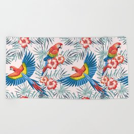 Macaw parrots in the jungle Beach Towel
