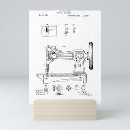 Singer sewing machine old patent vintage illustration Mini Art Print