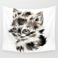 kitty Wall Tapestries featuring Kitty by quackso