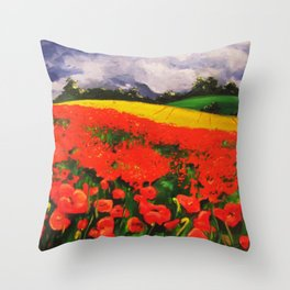 Poppies before the Storm Throw Pillow