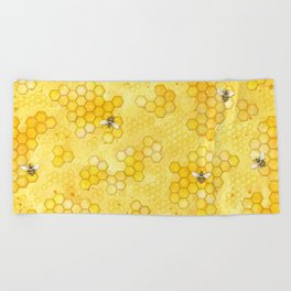 Meant to Bee - Honey Bees Pattern Beach Towel