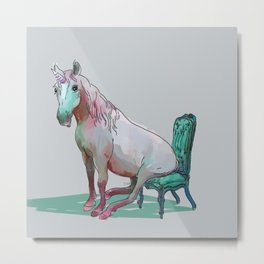 animals in chairs #22 The Unicorn Metal Print