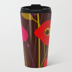Red Poppy Flowers by Friztin Metal Travel Mug