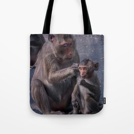 Mother and Baby Macaque Monkey Tote Bag