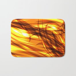 Saturated gold and smooth sparkling lines of metal ribbons on the theme of space and abstraction. Bath Mat