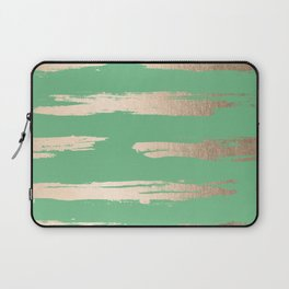 Abstract Paint Stripes Gold Tropical Green Laptop Sleeve