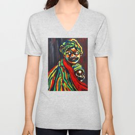 African Traditional Tribal Women Abstract Art Canvas Painting Series - 8 Unisex V-Neck