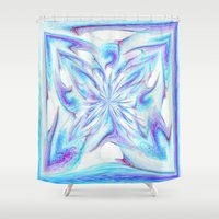 pantone Shower Curtains featuring Butterfly - Pantone by Bella Mahri-PhotoArt By Tina